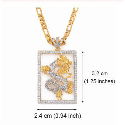 Cubic Zirconia Auspicious Figaro Dragon Pendant Necklace