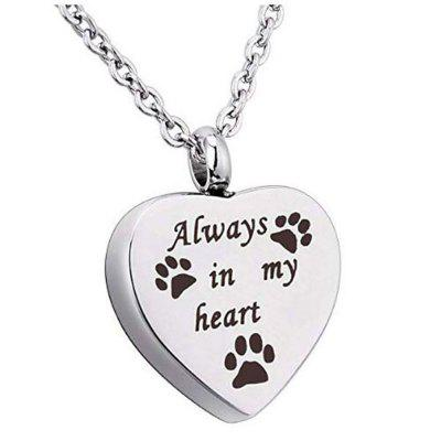 Always In My Heart Pet Paw Cremation Urn Necklace Dog Ash Jewelry Memorial Keepsake Pendant Chain