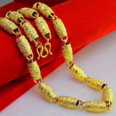 Thicken Heavy Olive Bead 18ct Wood Barrels Real Yellow Gold Filled Mens Necklace Chain 10mm