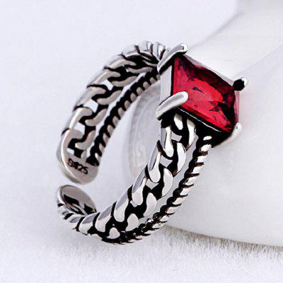 Vintage Tricolor 925 Sterling Silver Zircon Opening Ring Chain