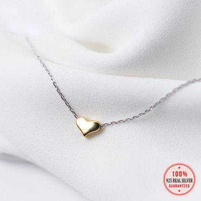 925 Solid Sterling New Gold Heart Pendant 40cm Short Clavicle Necklace