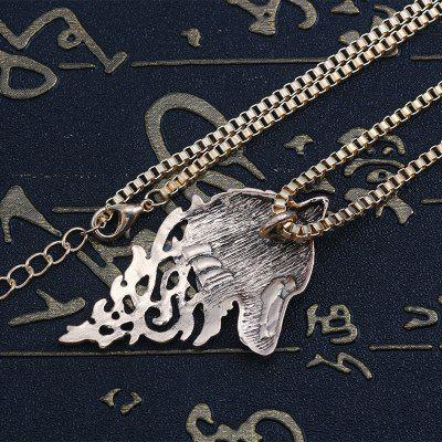 Punk Vintage Wolf Pendant Necklace Women Men Gold Silver Black Metal Wolf Head Chain Animal Jewelry