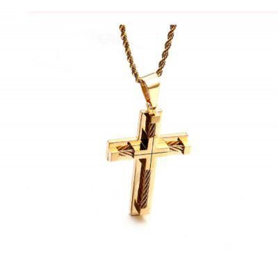 Gold Stainless Steel Wire Chain Large Biker Cross crucifix Pendant Chain 22 inch