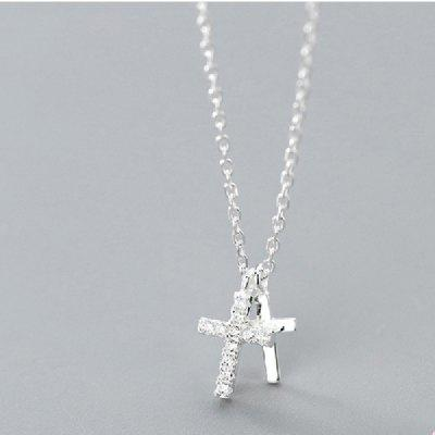925 Sterling Solid Silver Chain Jewelry Cross CZ Pendant Short Clavicle Necklace Women Girl Jewelry