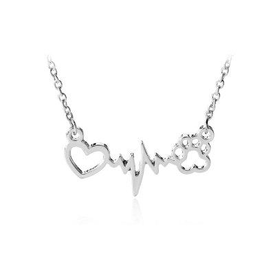 Love Bear Palm Dog Trace Chain Necklace Charm Lightning Women Jewelry