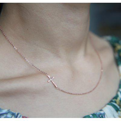 925 Sterling Silver Necklace with Pendants Women Cross Horizontal Necklace