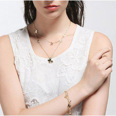 Light Yellow 2 Gram Gold Chain Multi Layer Maxi Chain Necklaces Butterfly Pendant Fashion Jewelry