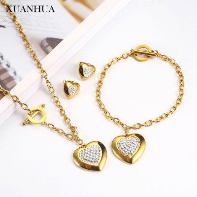 Stainless Steel Jewelry Sets Charm Heart Necklace Earrings Bracelet Set 2 Gram Gold Chain Jewellery