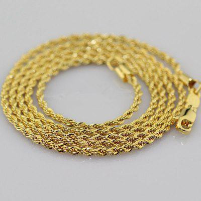 Gold Filled Twist Rope Chain 2mm Rope Chain Womens Mens Necklace Classic Jewelry