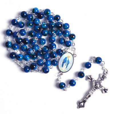 Catholic Rosary Round Glass Beads Virgin Mary Jesus Necklace for Women
