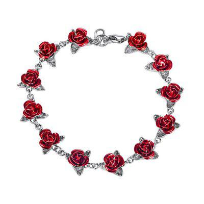 Red Rose Flower Charm Bracelet Women Chain