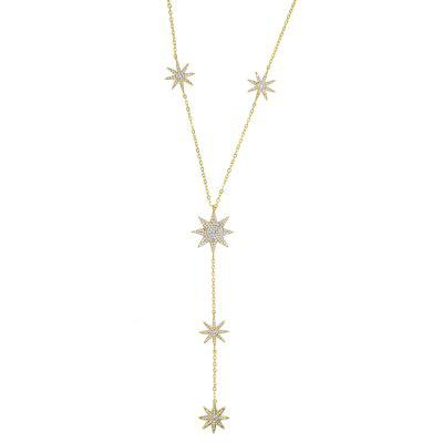 Sexy Star Charmy Shape Long Necklace for Women Silver Y Chain
