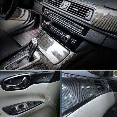 Car Styling 200cm x 50cm Glossy Black 5D Carbon Fiber Vinyl Film Sticker