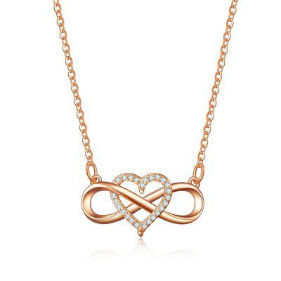 Silver Colors Infinity Heart Zirocn Pendant Necklace Gold Crystal Stone Long Necklace
