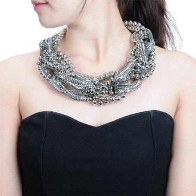Alloy Choker Black Beaded Gold Chain Statement Necklace