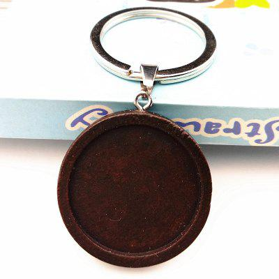 24pcs Logging Wood Cabochon Trays 25mm Chain with Stainless Steel Ring