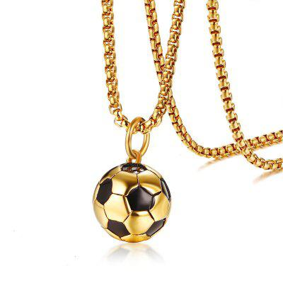 Necklace for Men Mens Stainless Steel White Blue Football Hippie Pendant Necklace for Hip Hop Men Sports Soccer Ball Jewelry 20inch