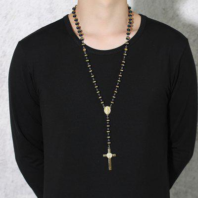 Gold Black Beads Long Rosary Necklace for Women Men Stainless Steel Chain