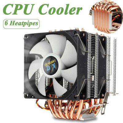 CPU Cooler 6 Heat Pipes 3pin Dual Fan Cooler Quiet Cooling Fan