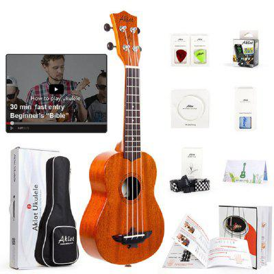 Electric Ukulele Solid Mahogany w Online Video Ukelele Soprano Concert Tenor Uke 4 String Guitar