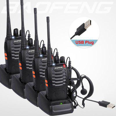 Long Distance Walkie Talkie Rechargeable UHF 2 Way Radio Set Handheld Small Cool Radio 4PCS