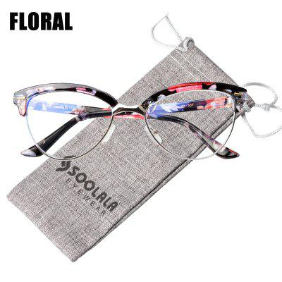 Cat Eye Semi-Rimless Anti Blue Light Computer Screen Glasses Filter Eyeglasses Frame