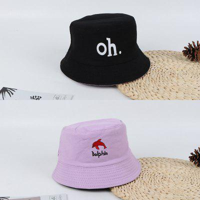 Spring Summer Baby Boys Girls Dolphin Embroidery Two-sided Bucket Hat