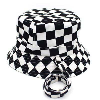 New Black White Plaid Bucket Hats for Men Flat Fishing Cap Women Hip Hop Caps Hat
