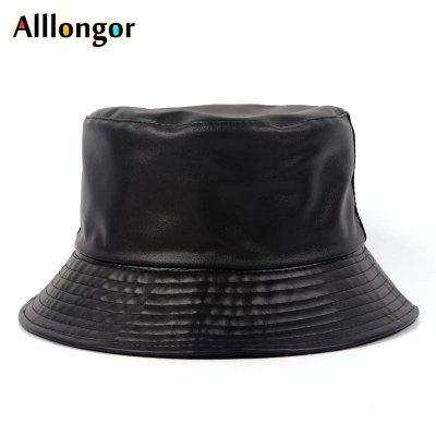 Black Faux Leather Mens Bucket Hat Fashon Cool Fishing Hats Waterproof Fisherman Cap Sun UV Hat