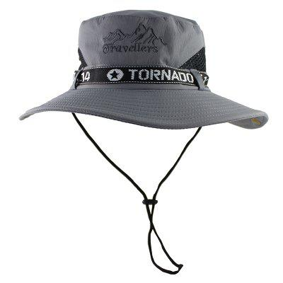 Mesh Mens Bucket Hat Summer Fishing Hiking Cap Wide Brim UV Protection Flap Boys Hat with Stap