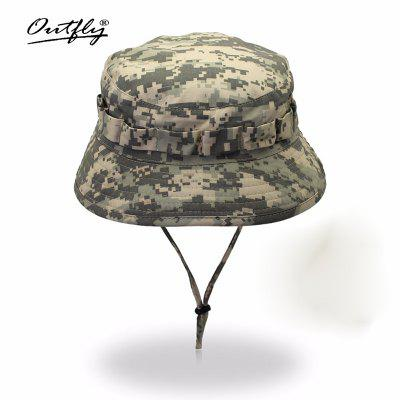 Camouflage Army Mens Bucket Hats with Drawstring Outdoor Camping Short Cap Bionic Jungle Hats