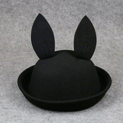 Cartoon Rabbit Ears Baby Bucket Hat Children Wool Solid Color Hat for Spring Autumn Boys Girls
