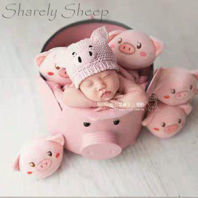 Cartoon Pig Newborn Infant Bucket Hat Photography Props Theme Baby Boys Girls Photo Shoot Hat