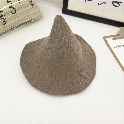 Personalised Wool Knitting Bucket Hats Wide-brimmed Womens Fishing cap Witch Pointed bucket hat