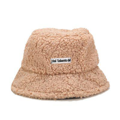 Popular Solid Artificial Fur Bucket Hat Women Outdoor Fishing Sun Fluffy Cap Panama Ladies Hat