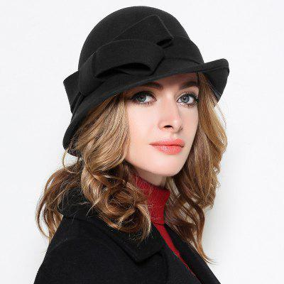 Stylish Bowknot Wool Women Bucket Hat Classic Retro Narrow-brimmed Crimping Hat
