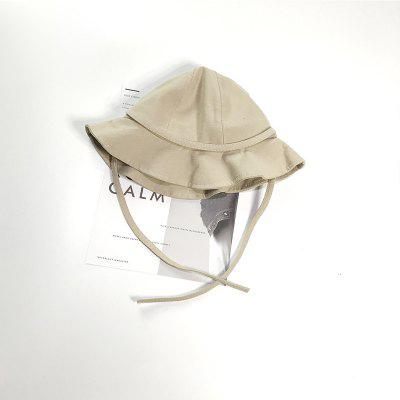 Wide Brim Baby Bucket Hat with Drawstring Boys Girls Collapsible Beach Cap Cotton Fisherman Hat