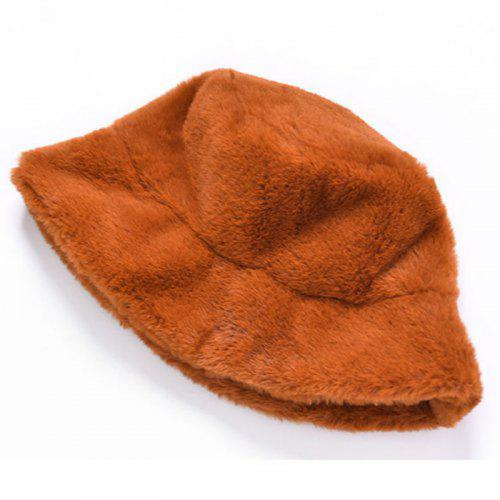 Women Warm Outdoor Soft Vacation Cap Faux Fur Thickened Winter Bucket Hat
