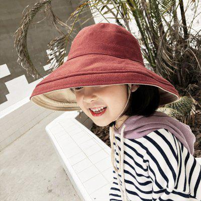 Solid Color Kids Bucket Hats Fishing Hats Sun Cap Folding Wide Brim Spring Hat with Drawstring