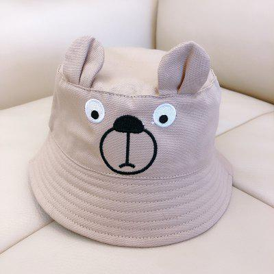 Cute Bear Kids Bucket Hats Fashion Cartoon Hat Cotton Embroibery Baby Boys Girls Fishing Cap