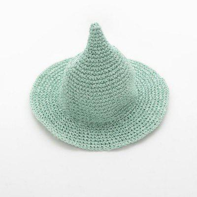 Kids Witch Bucket Hats Solid Children Straw Wizard Fishermen Hat Pointed Tall Knitted Fishing Cap