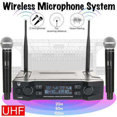 Professional UHF Wireless Microphone Channel 2 Cordless Handheld Dynamic Mic Cardioid Microphone