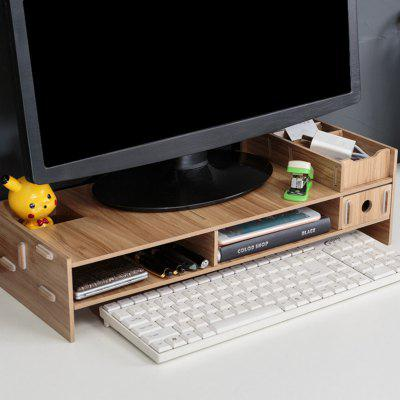 Multi-function Desktop Monitor Stand Computer Screen Riser Wood Shelf Plinth Laptop Desk Holder