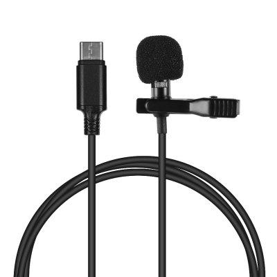 Mini Clip-on Condenser Microphone Mic with Type-C Plug for Android IOS Smartphone USB Microphone