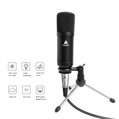 Condenser Podcast Microphone 3.5mm Cardioid Computer Mic With Tripod Stand