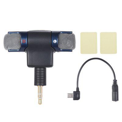 External Stereo Mic Microphone with 3.5mm to Mini USB Micro Adapter Cable for Sports Action Camera