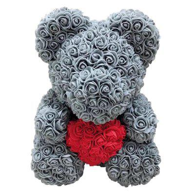 25cm Red Rose Teddy Bear Rose Flower Artificial Decoration Christmas Gifts Women Valentines Gift