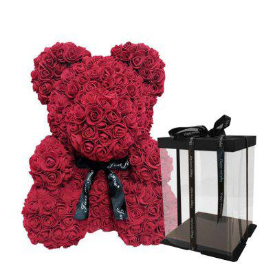 25cm Red Rose Teddy Bear Rose Flower Artificial Decoration Christmas Valentines Day Gift