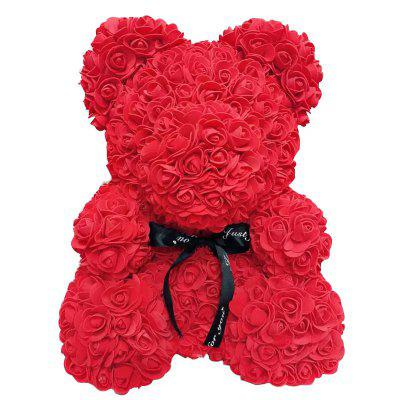 40cm Rose Bear Heart Artificial Flower Rose Teddy Bear for Wedding Birthday Christmas Gift