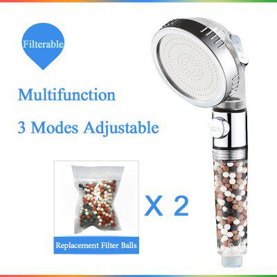 New Replacement Filter Balls SPA Shower Head with Stop Button 3 Modes Adjustable Shower Head